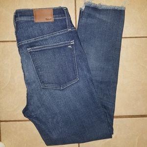 Madewell slim straight raw hem denim jeans